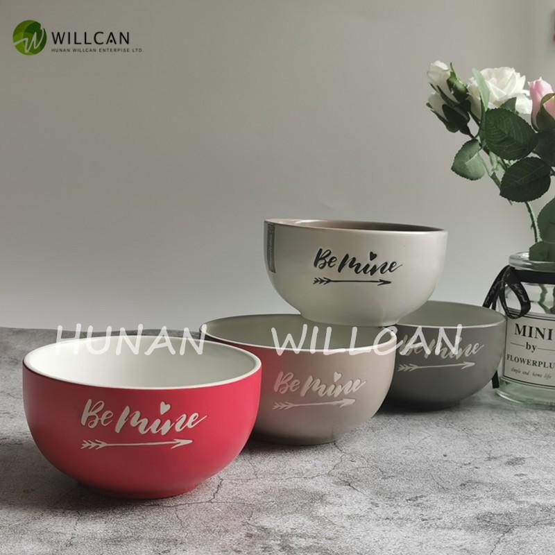 red ceramic soup bowls