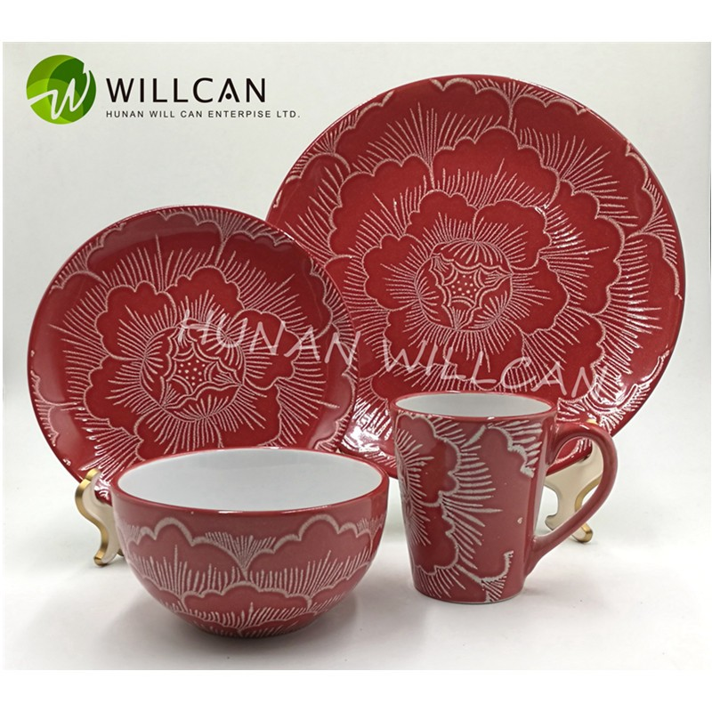 red ceramic dinner set