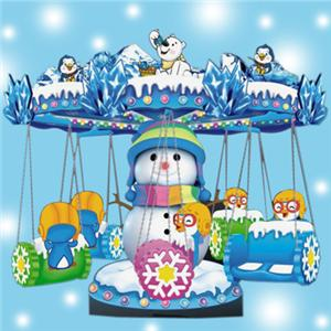 Ice theme park facility four seats electric carousel flying chair