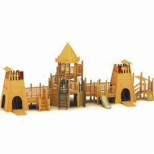 Wooden kids outdoor playground combination slides with ladder