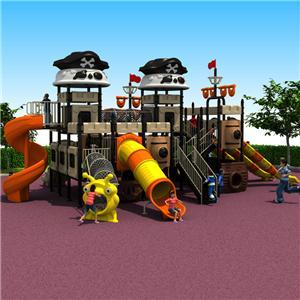 Adventure park children outdoor pirate ship plastic slides for backyard
