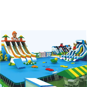 Inflatable naughty castle with slide for swimming pool