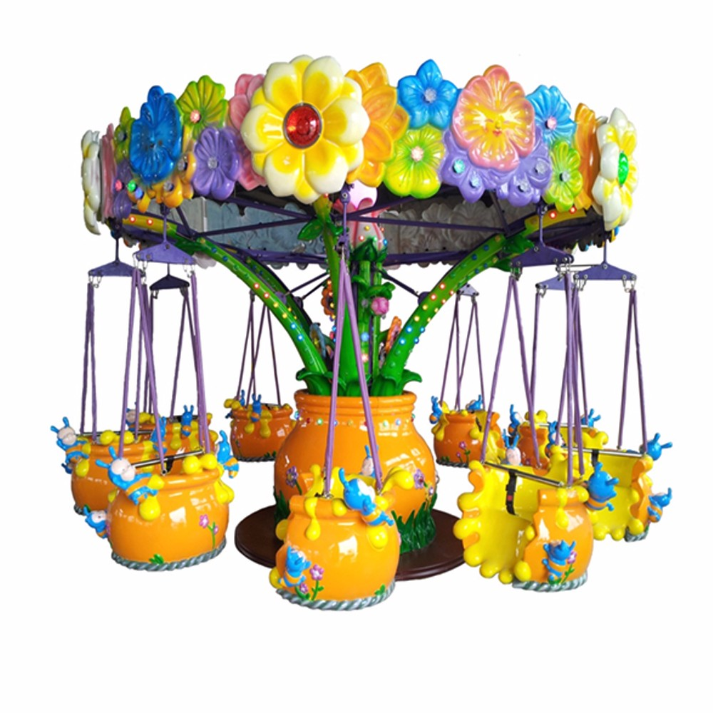 Merry go round electric ride flying chair for amusement park