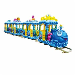 Amusement park equipment electric track train rides for kids