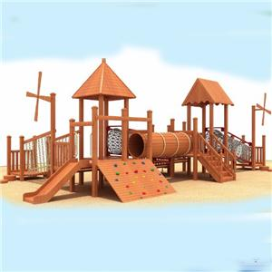 Outdoor Wooden Playground Equipment Kids Slide and Swing In Park