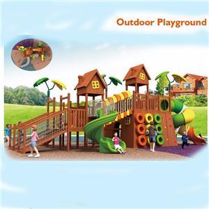 Children outdoor wooden climbing equipment park slide