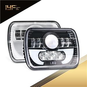 LED Headlights With Daytime Running Lights Rectangular Sealed Beam Headlight