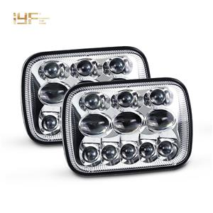 Jeep Headlight 5x7 LED Headlight Black Bezel For Jeep Cherokee Xj Yj