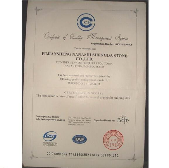 Certificates for Xiamen Yeyang Stone