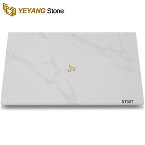 Natural Look Calacatta White Marble Artificial Stone Quartz Slabs For Wall