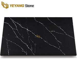 Black Calacatta Quartz Vanity Top For Bathroom Project