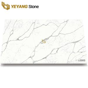 Man-Made Stone Calacatta Quartz Colors Tiles For Stairs