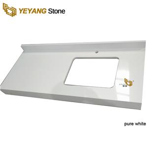 Pure White Quartz Vanity Tops With Sink Hole Manufacturer Supplier