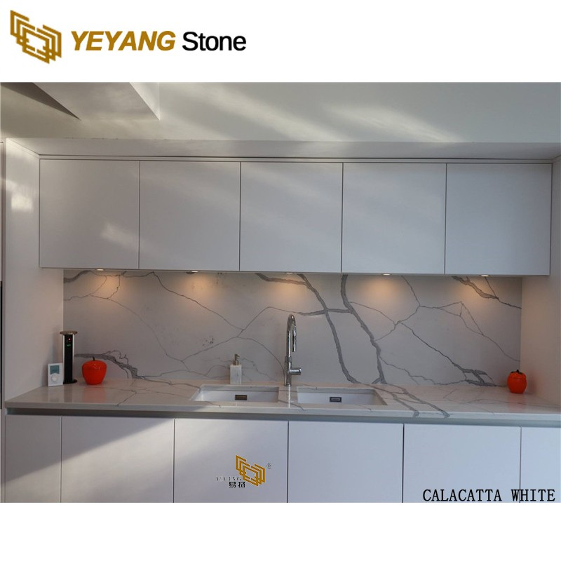 Polished Man Made Engineered Marble Looking Quartz Stone