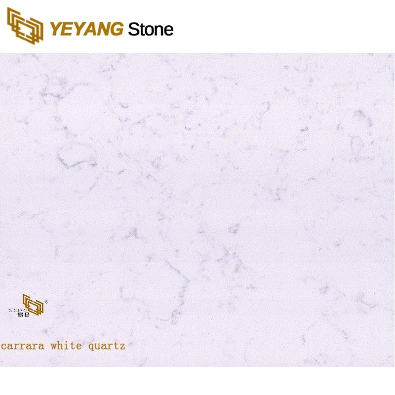 Carrara White Artificial Engineered Quartz Stone Marble Flooring Tile
