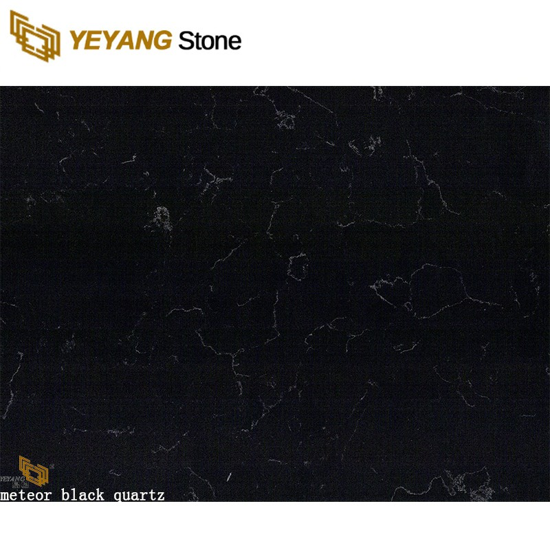 Hot Sale Natural Black Sparkle Quartz Stone Interior Floor And Wall Tiles