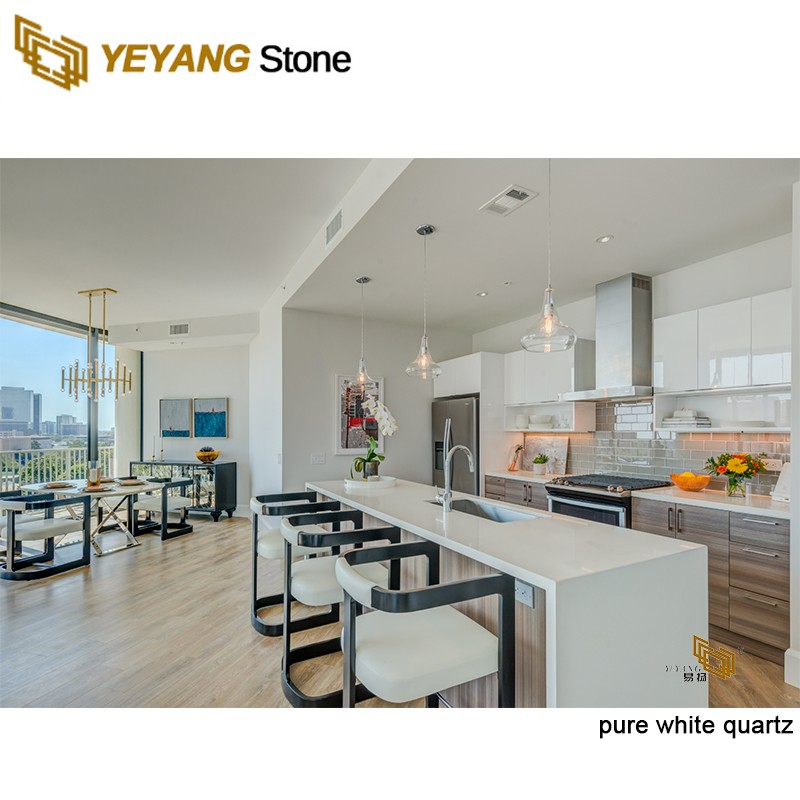 Pure white quartz stone countertops/backsplash for kitchen projects