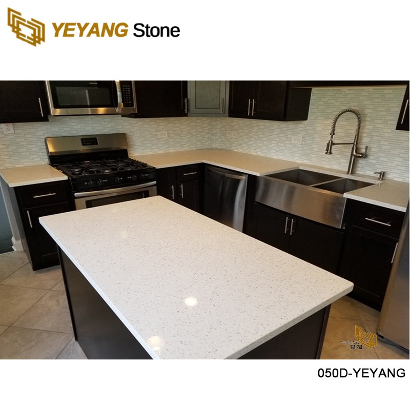 Grey quartz stone with specially formulated colors for KSY building in the US.