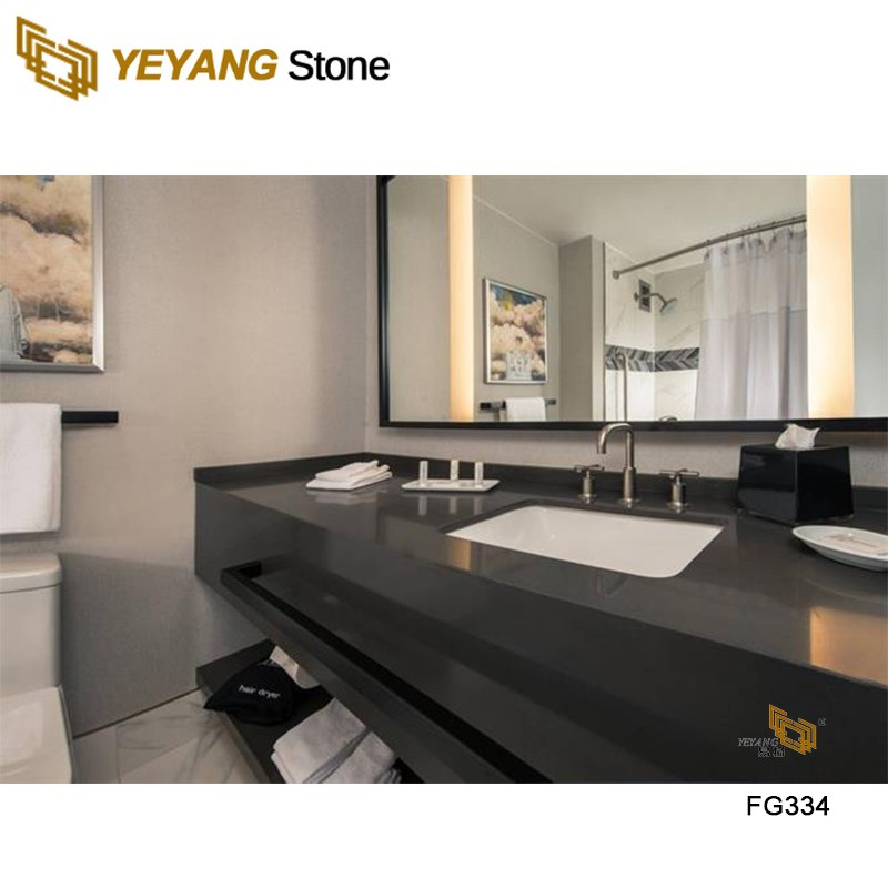 Project Case FG334 Dark Grey Artificial Quartz Stone Slabs Kitchen