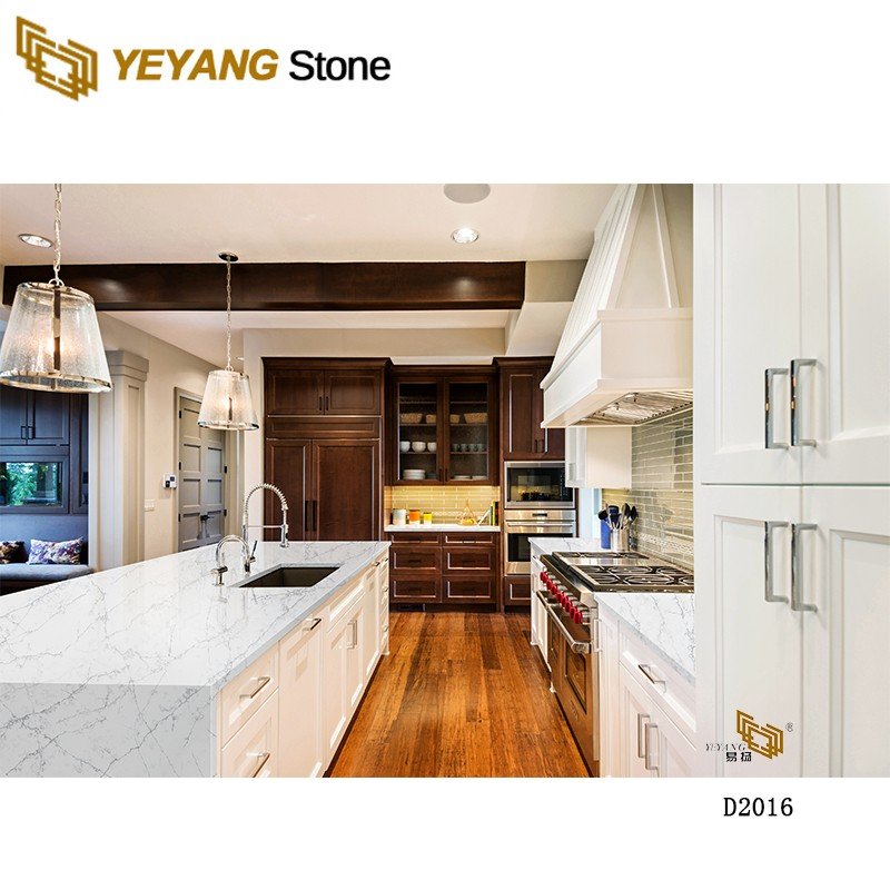 Factory Price Polished Calacatta Grey Vein Engineered Stone Quartz Slabs For Countertops - D2016