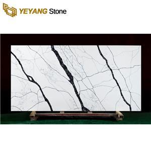 Polished White Marble Look Kitchen Quartz Countertop Stone for Bathroom Vanity Countertop