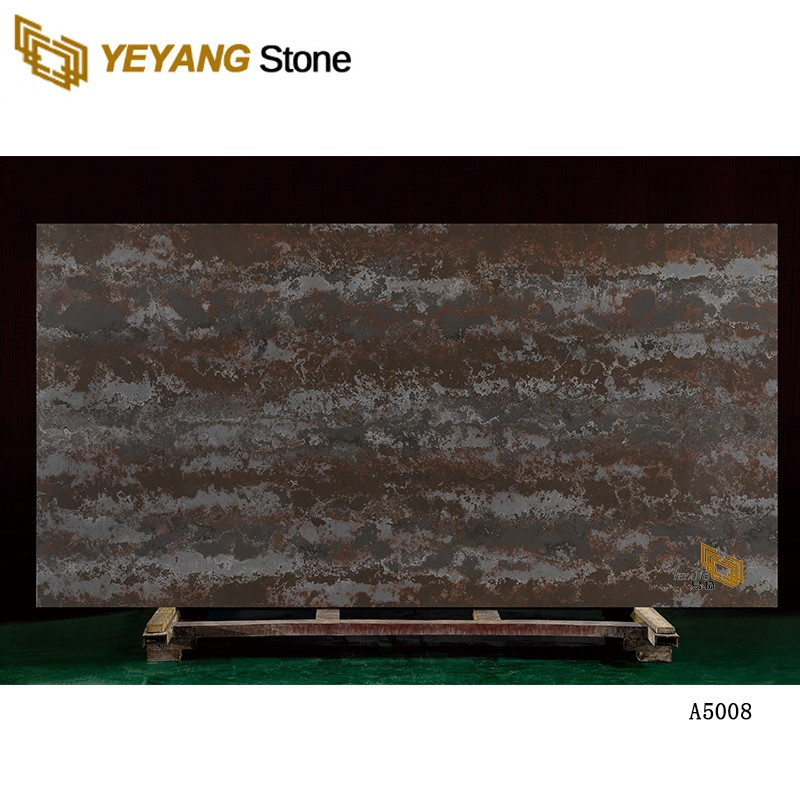 Artificial Black Calacatta Quartz Brown Stone Dark Color Artificial Stone Slab For Kitchen Countertop
