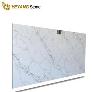 Artificial Stone Polished White Beige Calacatta Unique Quartz For Bathroom Countertops