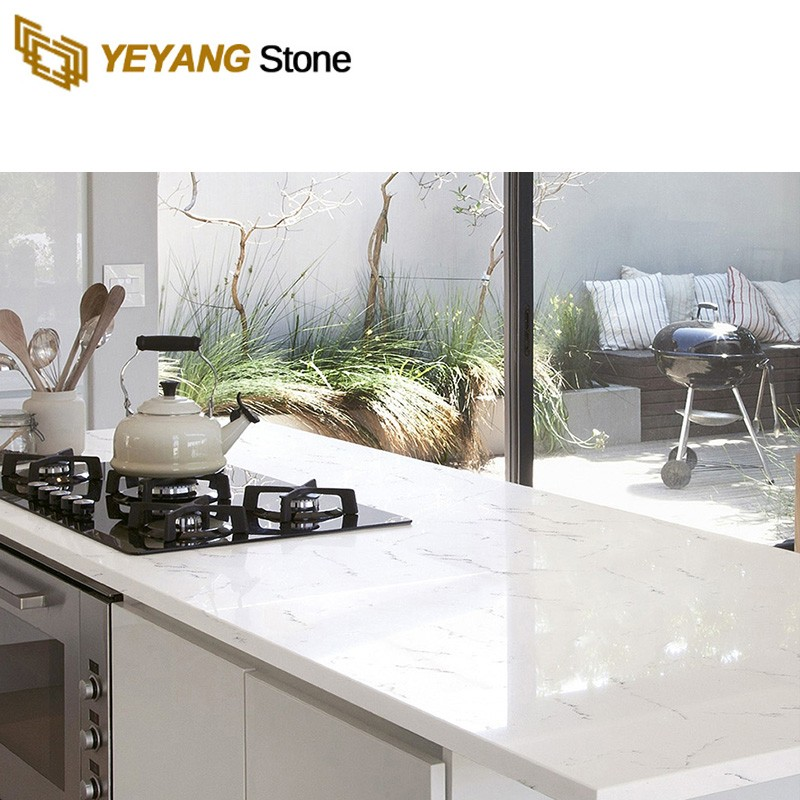 Artificial Stone Polished White Beige Calacatta Unique Quartz For Countertops