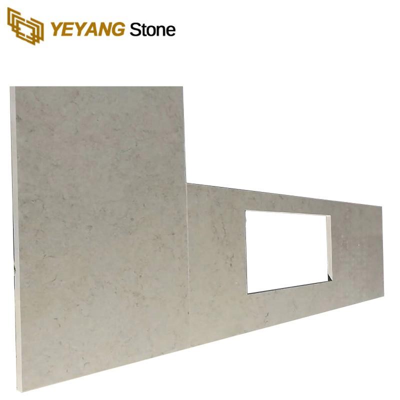 Man Made Quartz Stone Custom Pure White Tops Kitchen Countertop