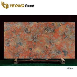 Manufactured Red Quartz For Kitchen Countertops Good Surface