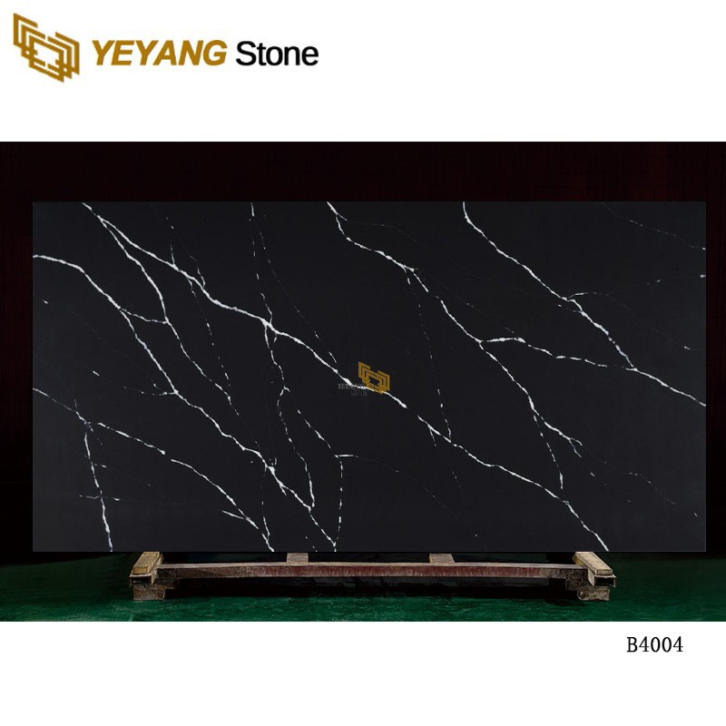 Interior Tiles Sparkle Black Artificial Quartz Stone - B4004