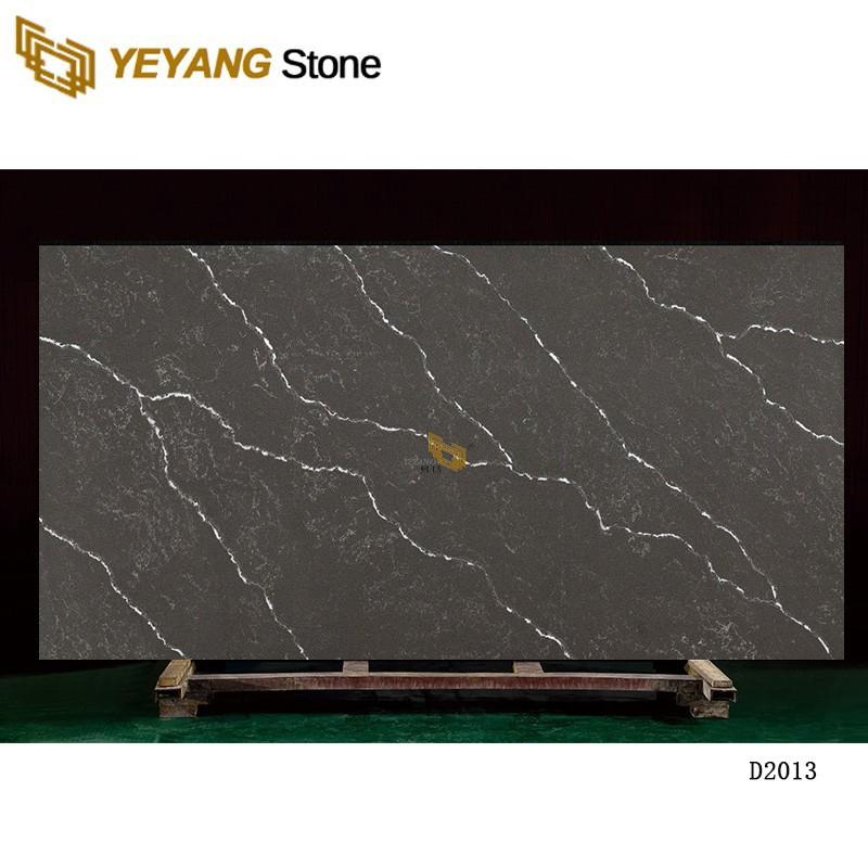 Artificial Stone Black Gold Veins Black Stone Quartz Slab D2013