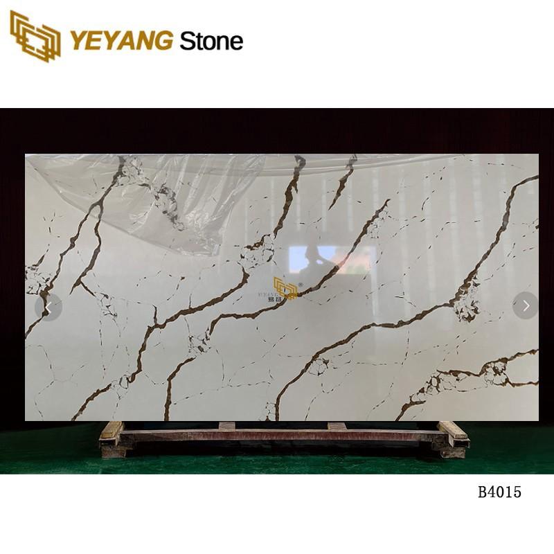 Largest Size Surface Polishing Calacatta Gold Thin Natural Quartz Stone Slab B4015
