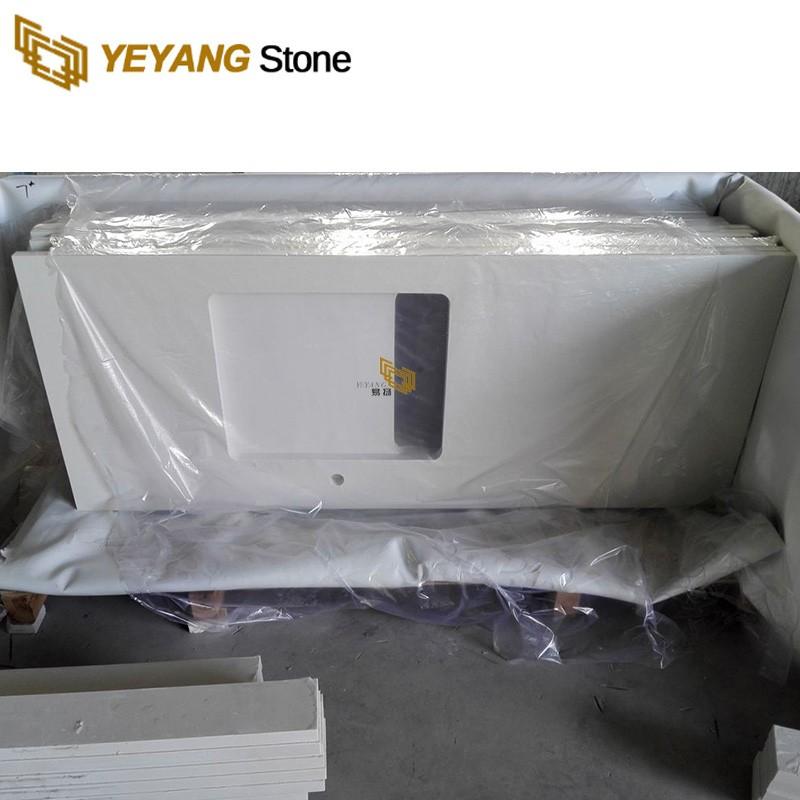 Calacatta Extra White Engineered Quartz Custom Vanity Tops For Family Project