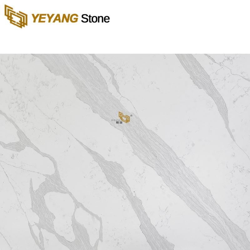 Man-Made Stone Crystal Quartz Floor Tile Slabs For Stair Design