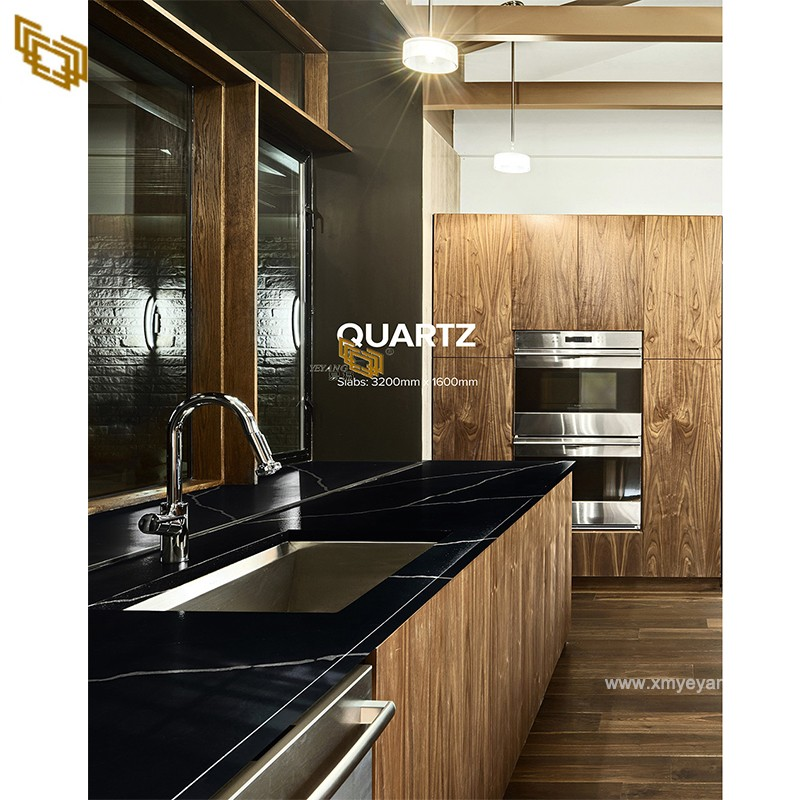 Black Galaxy Quartz Artificial Stone Vanity Top and Countertop for Kitchen & Bath room