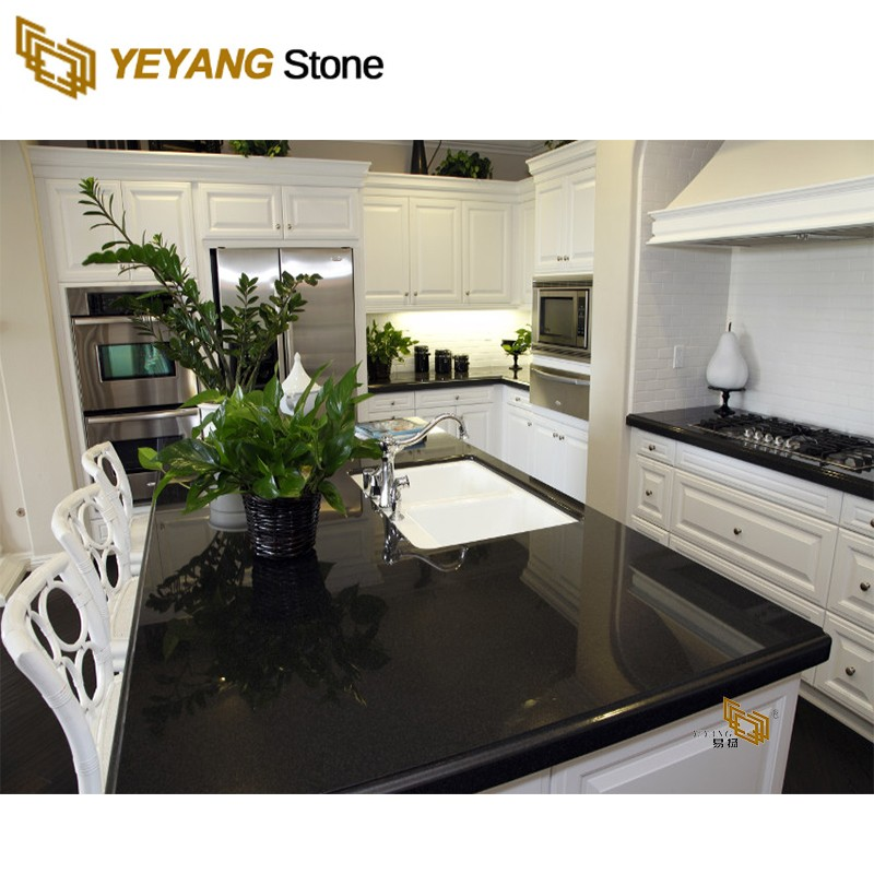 High Density Black Polished Hot Sale Artificial Quartz Stone for Kitchen Vanity Countertop