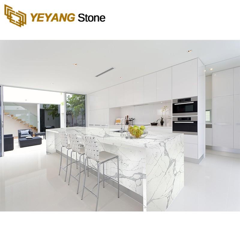 Cost-effective artificial white quartz kitchen countertops worktops for sale - nt401