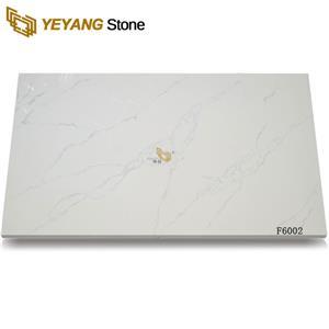 China Carrara White Artificial Engineered Calacatta Quartz Stone Slab - F6002
