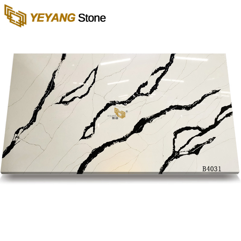 Artificial Engineered Stone Panda White Quartz Slab for Kitchen Countertop-B4031