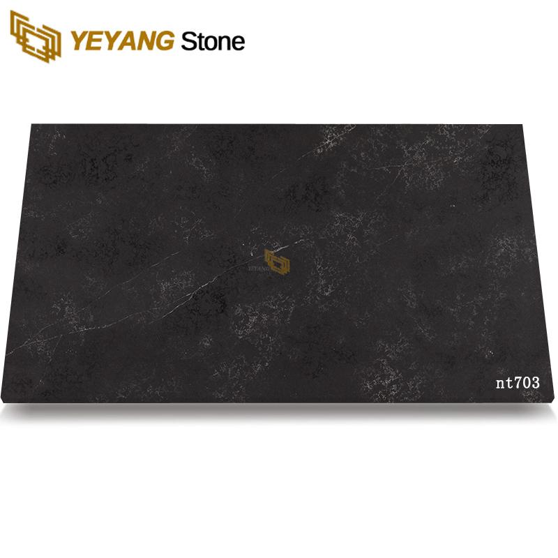 High Density Black Polished Artificial Quartz Stone For Kitchen Vanity Countertop -NT703