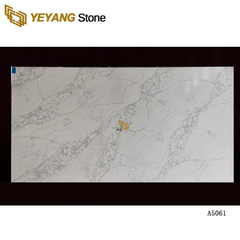 White Quartz slab, Cut To Size Artificial quartz Tile A5061