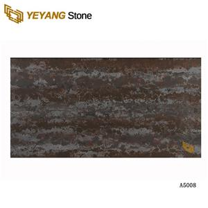 Artificial Black Calacatta Quartz Brown Stone Dark Color Artificial Stone Slab For Kitchen Countertop