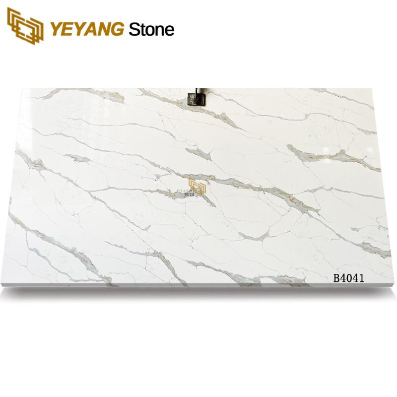 Artificial Quartz Stone Calacatta with Golden Veins B4041