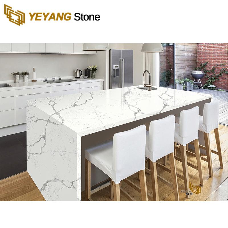 White Kitchen Space Design With Beautiful Calacatta Quartz