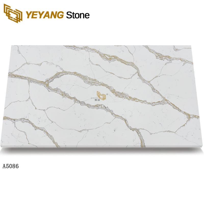 Calacatta gold quartz white marble look quartz slab tiles A5086