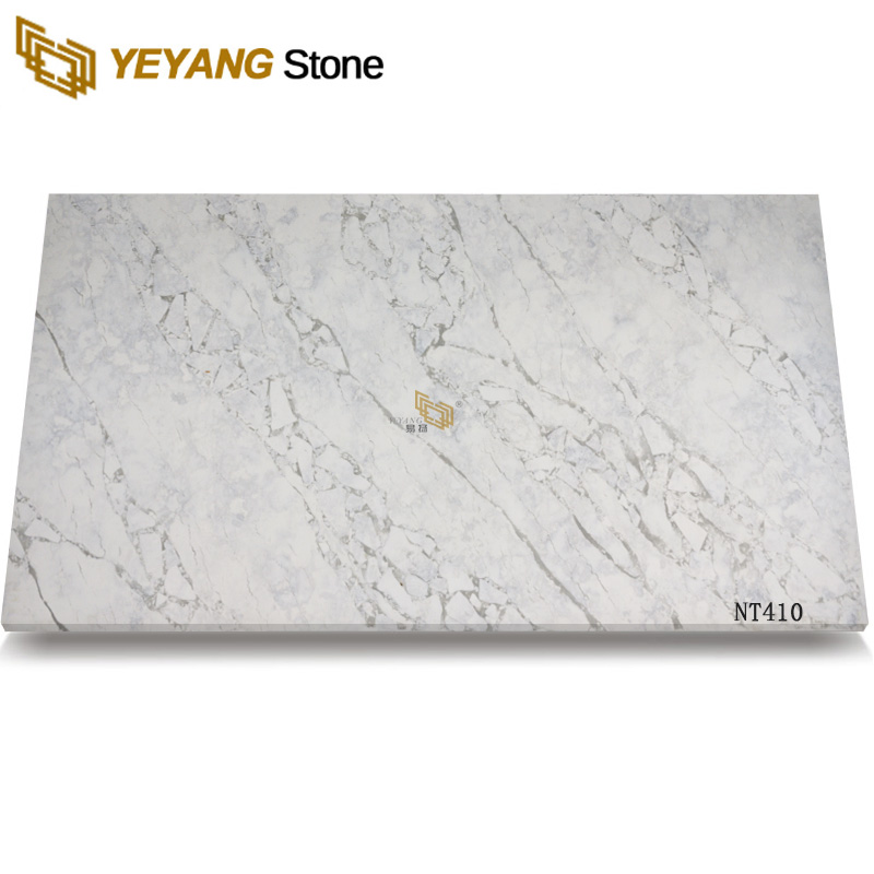 Exported Artificial Quartz Stone Calacatta White Design Quartz Slabs NT410