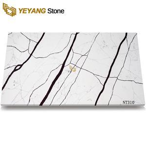Popular White Artificial Calacatta Quartz Stone Slab NT310