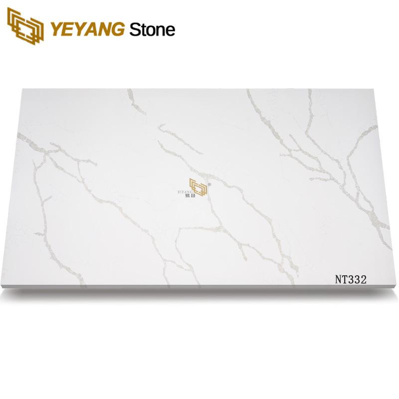 Calacatta White Quartz Stone Big Slabs Cut Size Polished Slab NT332