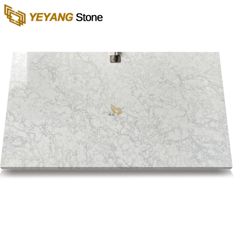 High Hardness Quartz Stone Kitchen Top White Quartz Countertops with Grey Veins B4044